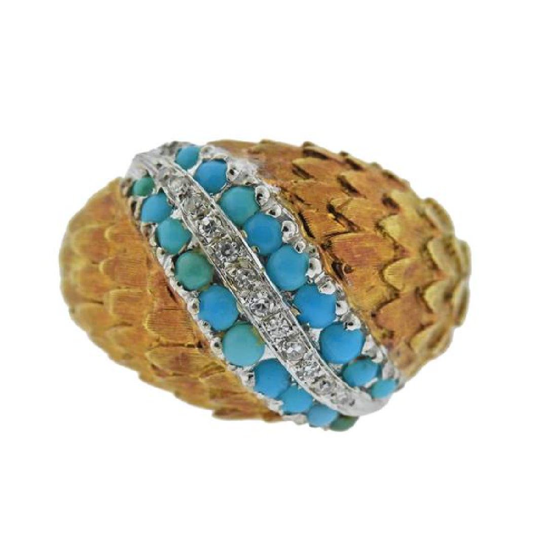 18K Gold Diamond Turquoise Dome Ring