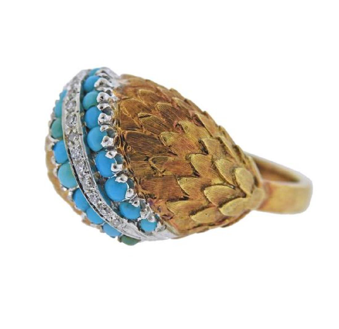 18K Gold Diamond Turquoise Dome Ring - 2