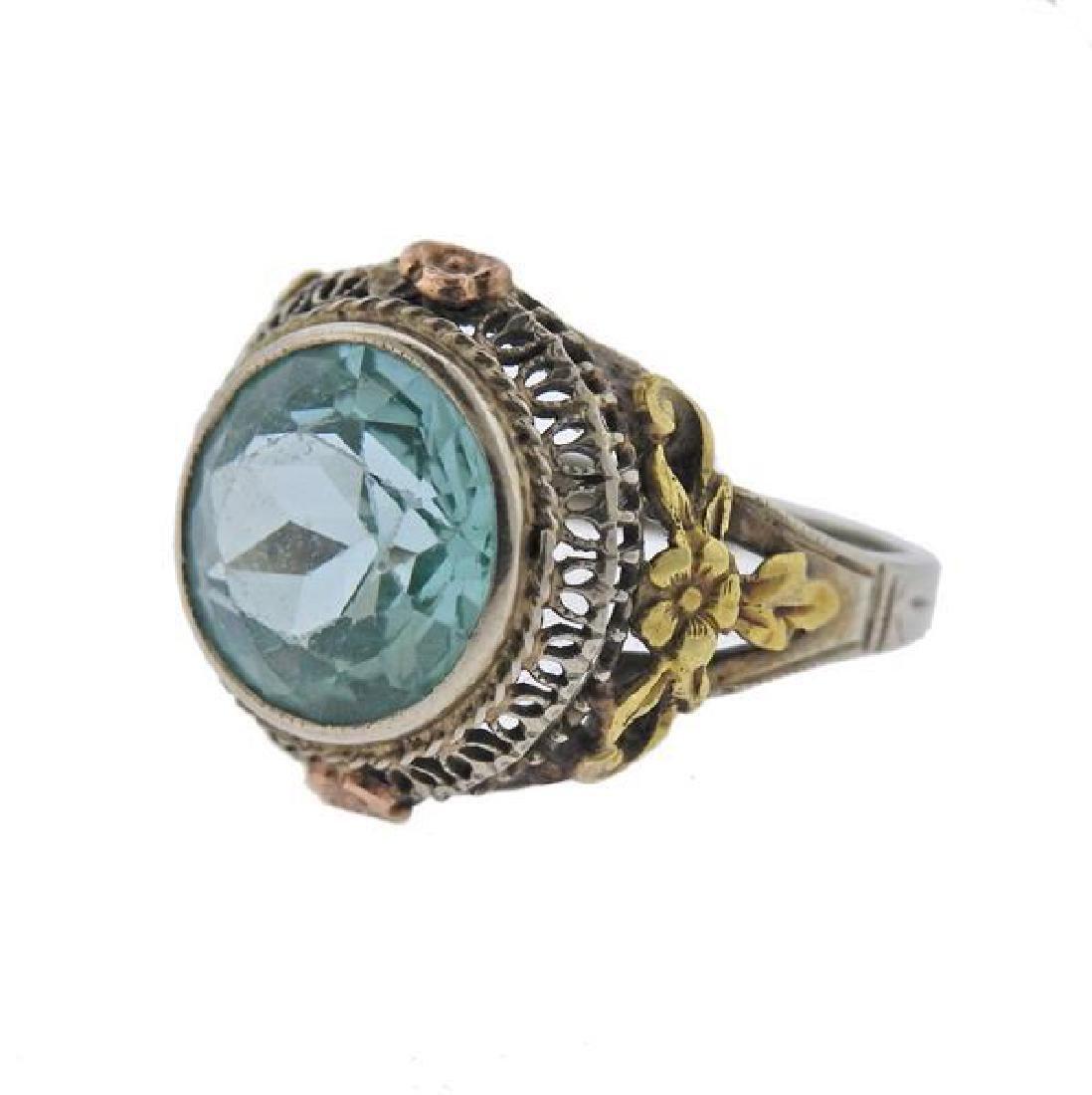 Art Deco  14K Gold Blue Stone Ring - 2