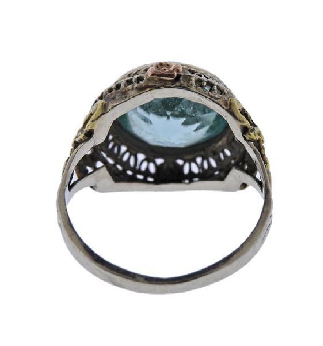Art Deco  14K Gold Blue Stone Ring - 3