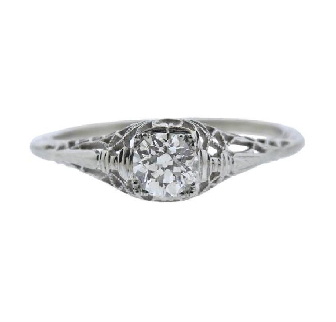 Art Deco Filigree 14k Gold Diamond Engagement Ring