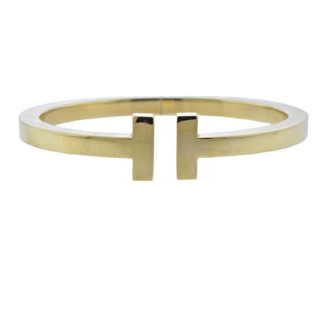 Tiffany & Co T 18K Gold Bangle Bracelet