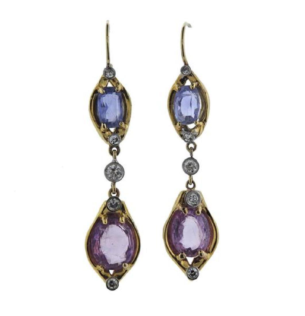 18K Gold Diamond Pink Blue Sapphire Drop Earrings