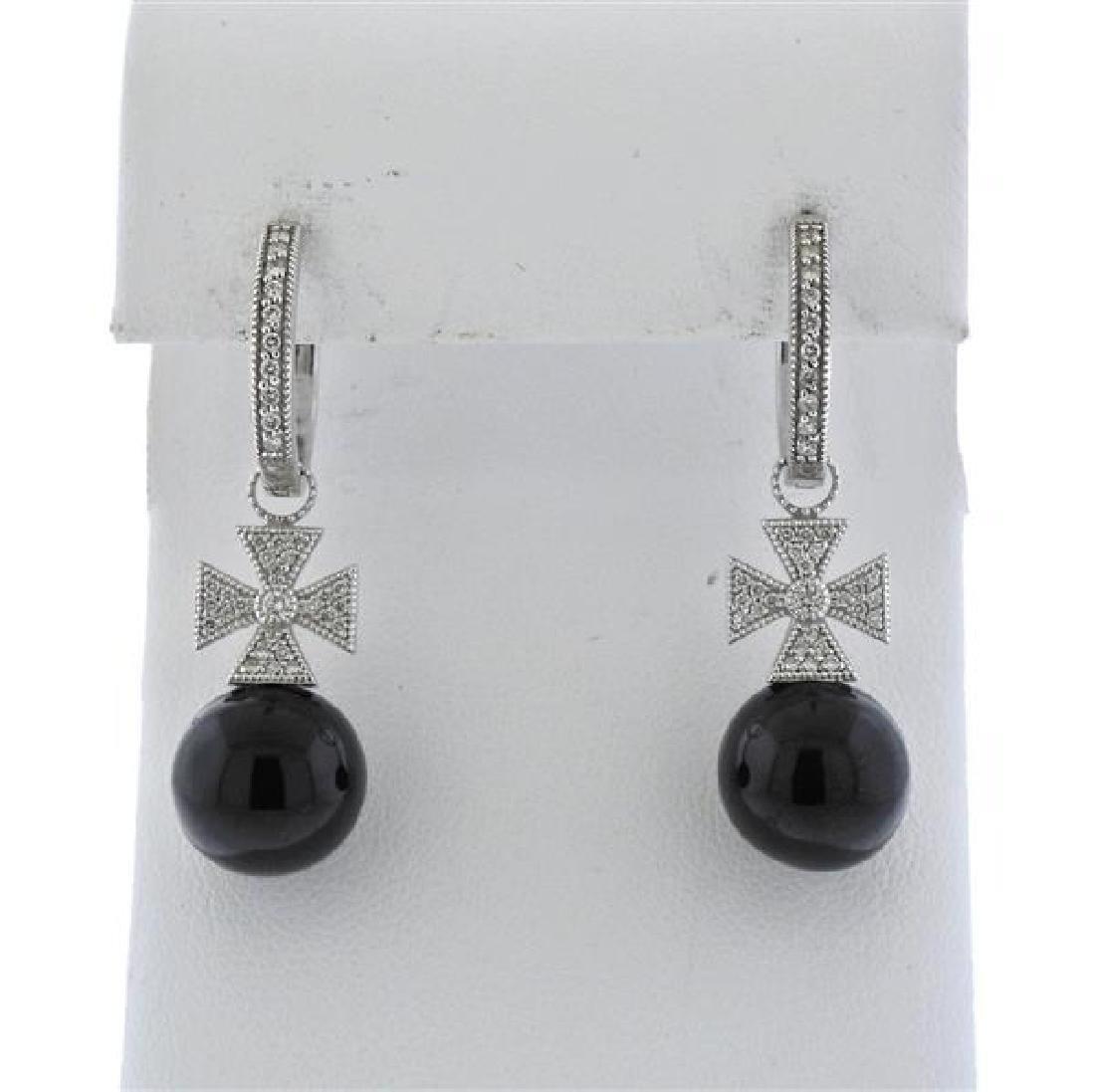 18K Gold Diamond Black Stone Drop Hoop Earrings