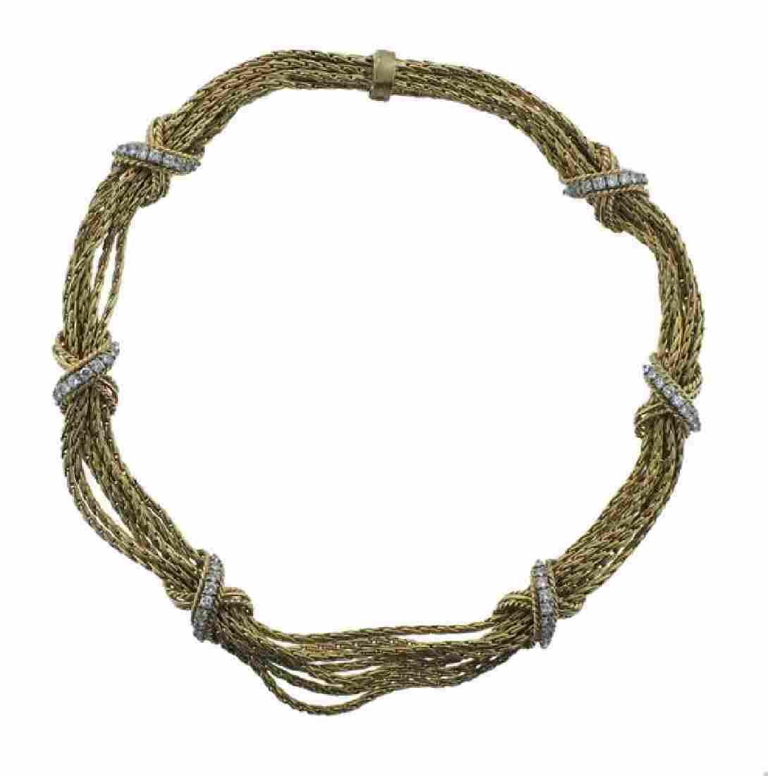 Tiffany & Co 14K Gold Diamond X Rope Necklace