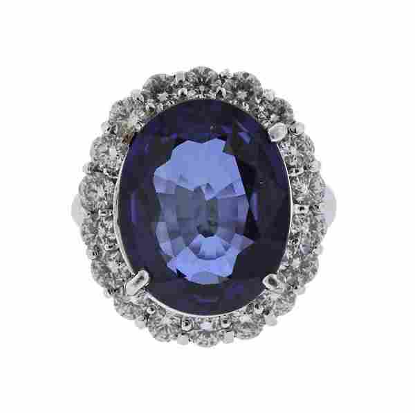 AGL 8.79ct Sapphire 14K Gold Diamond Ring
