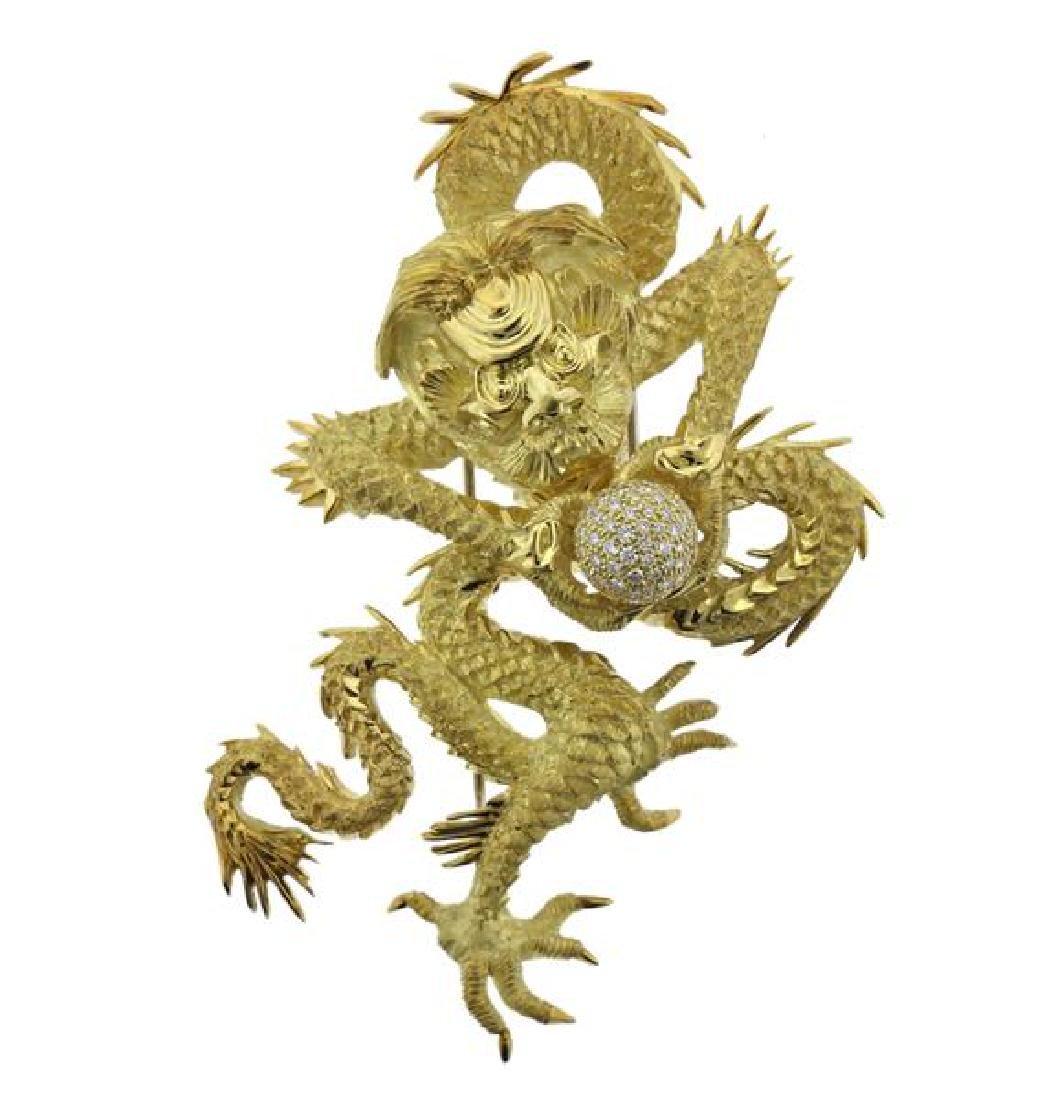 Henry Dunay 18K Gold Diamond Dragon Brooch