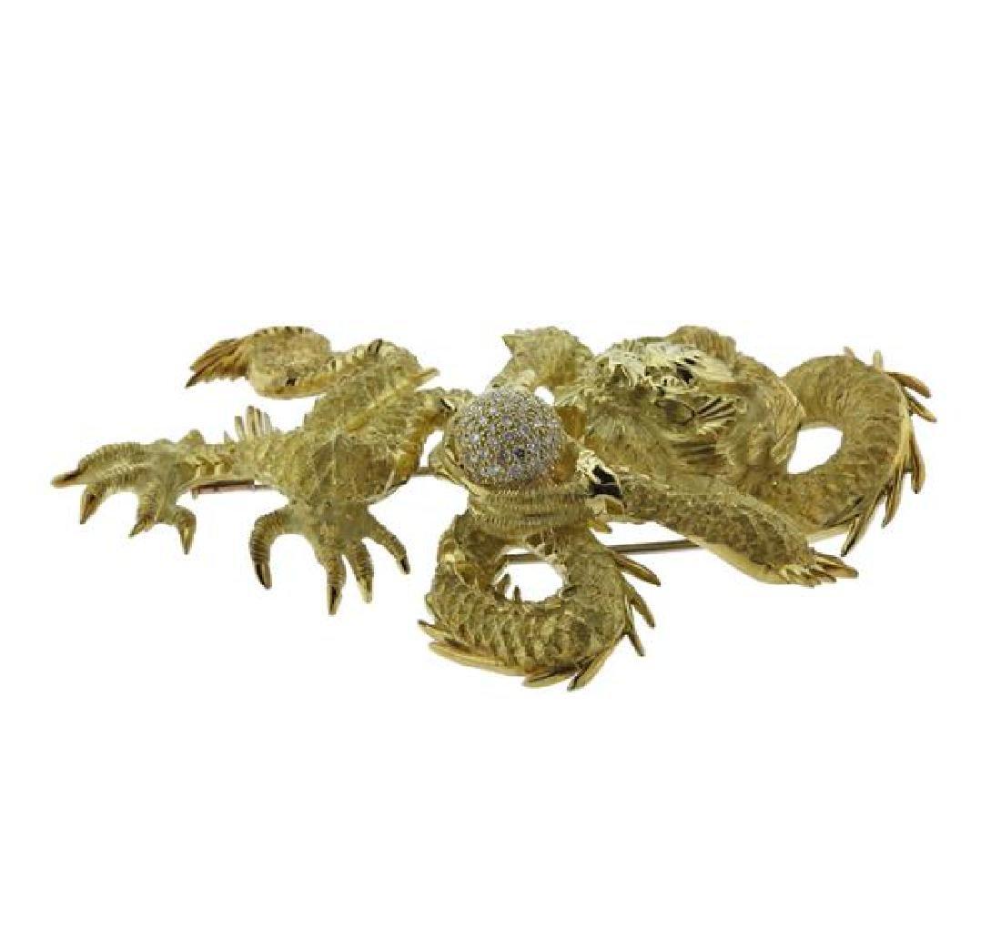 Henry Dunay 18K Gold Diamond Dragon Brooch - 2