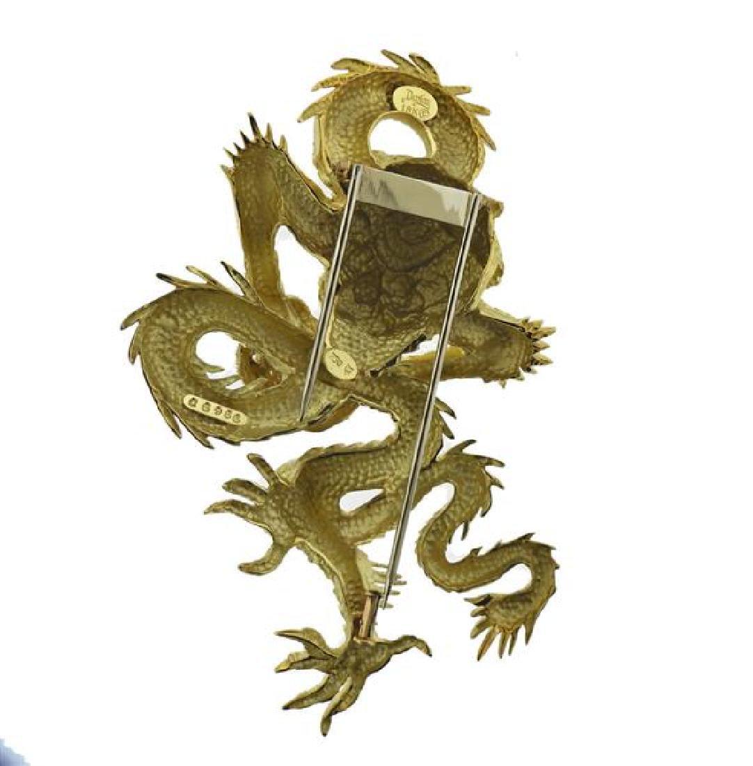 Henry Dunay 18K Gold Diamond Dragon Brooch - 3