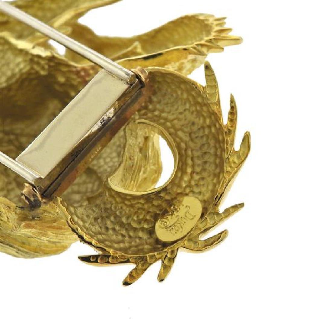 Henry Dunay 18K Gold Diamond Dragon Brooch - 4