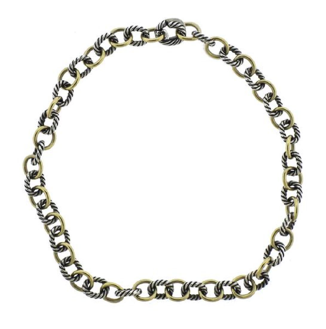 David Yurman 18K Gold Sterling Link Necklace