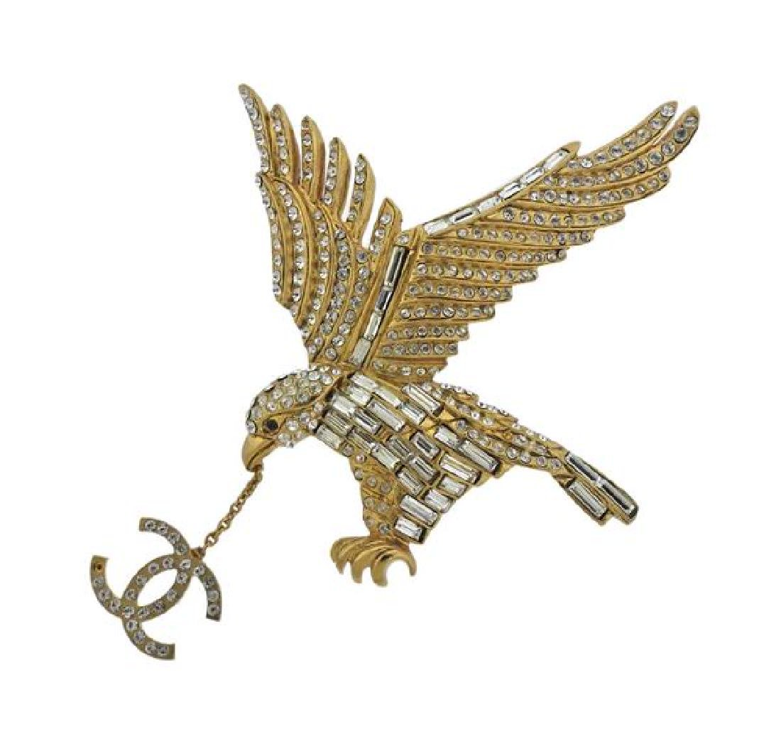Chanel Base Metal Clear Red Stone Eagle Logo Brooch