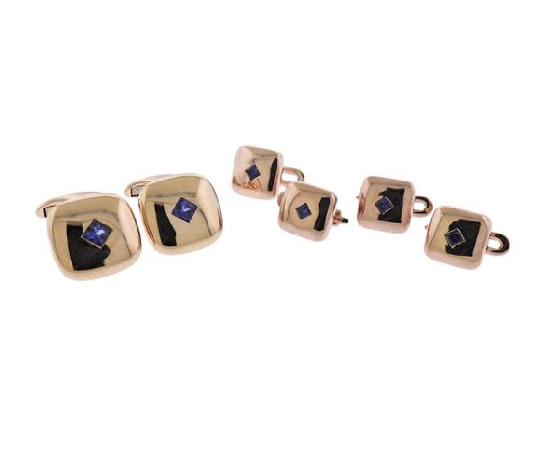 18K Gold Blue Stone Cufflinks Dress Stud Set