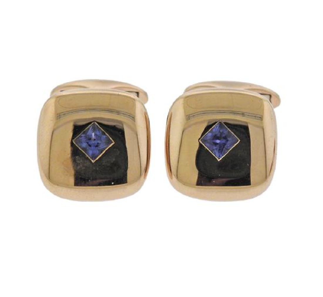 18K Gold Blue Stone Cufflinks Dress Stud Set - 2