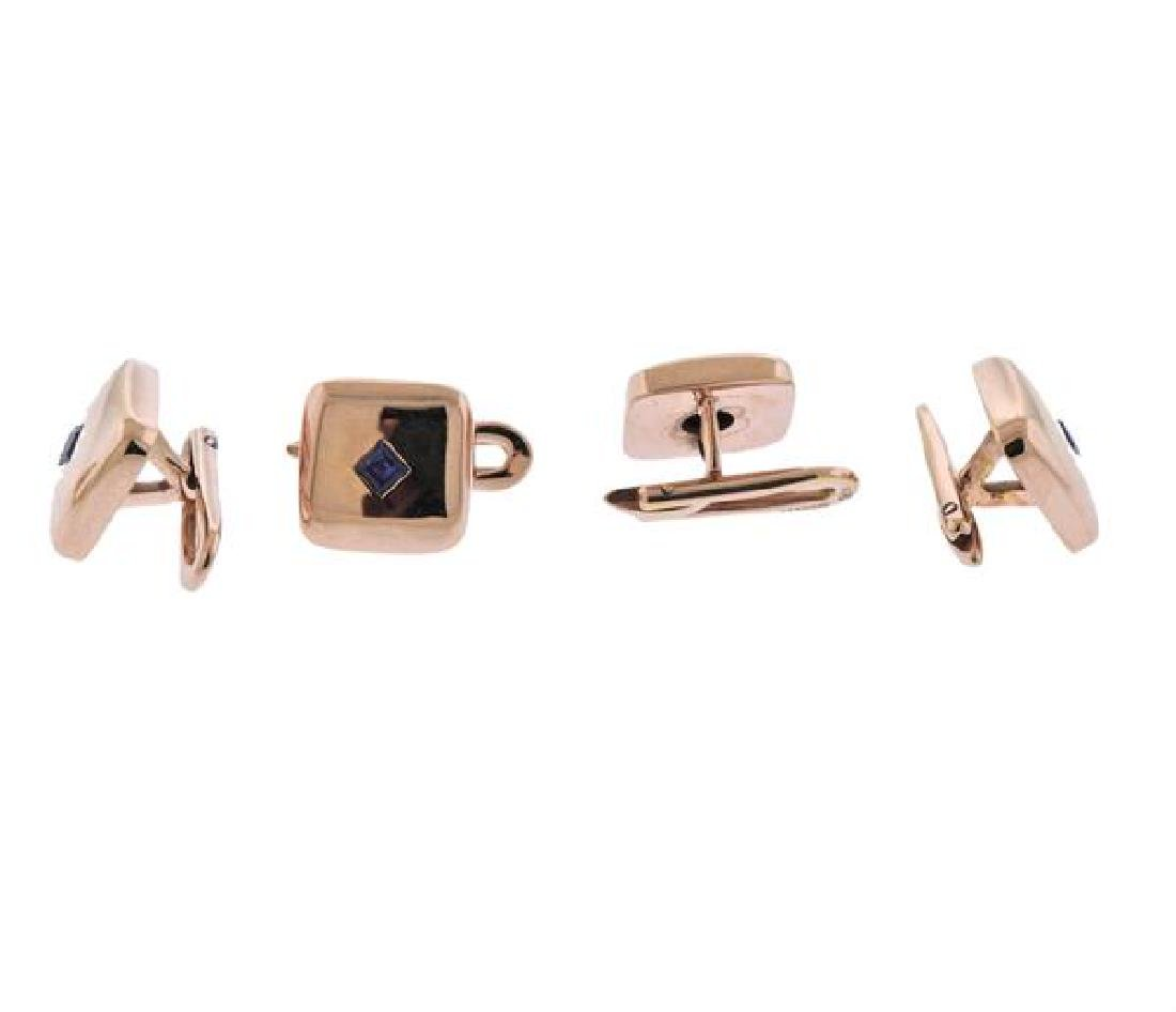 18K Gold Blue Stone Cufflinks Dress Stud Set - 6