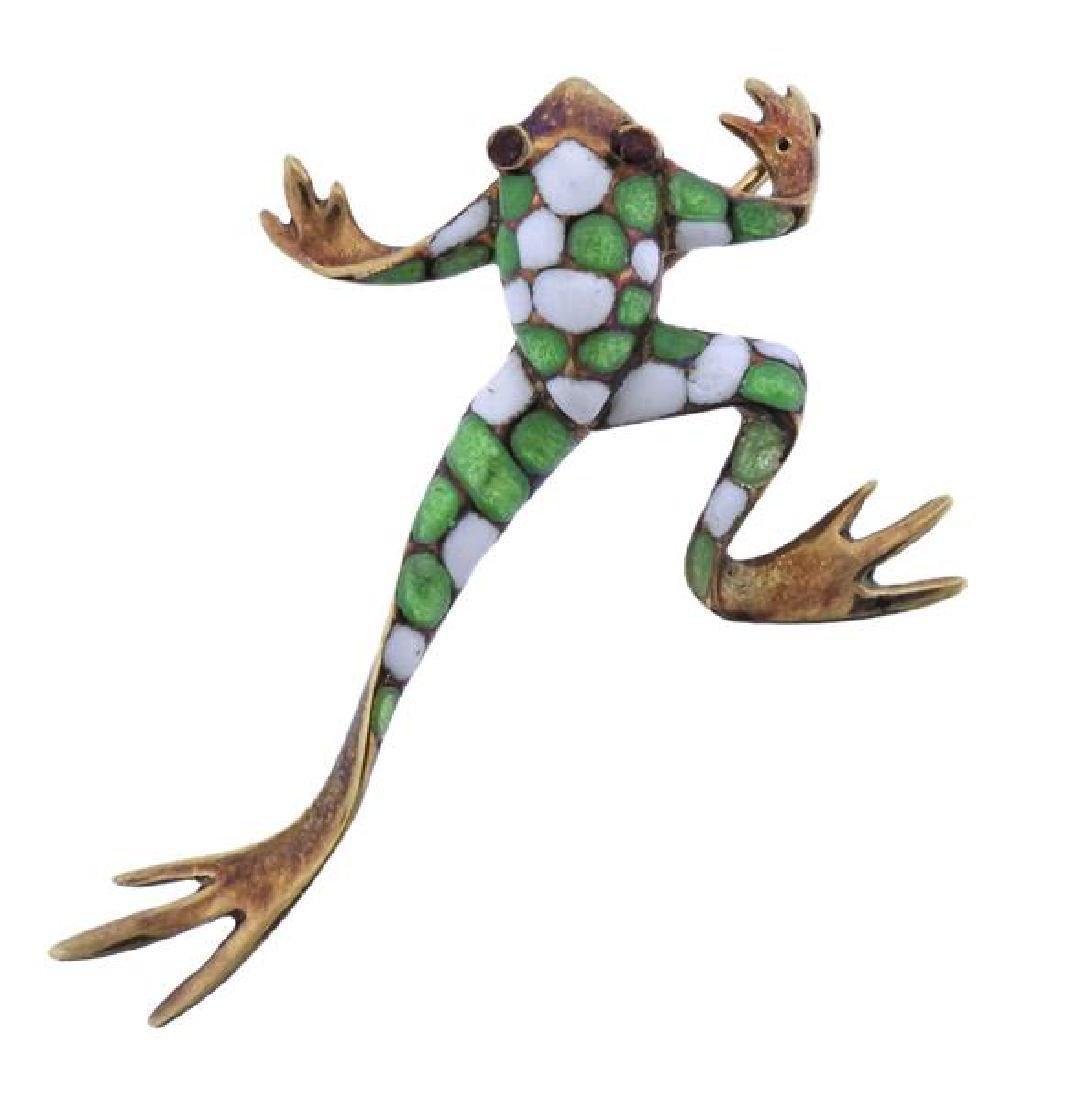 14k Gold Enamel Frog Pin Brooch