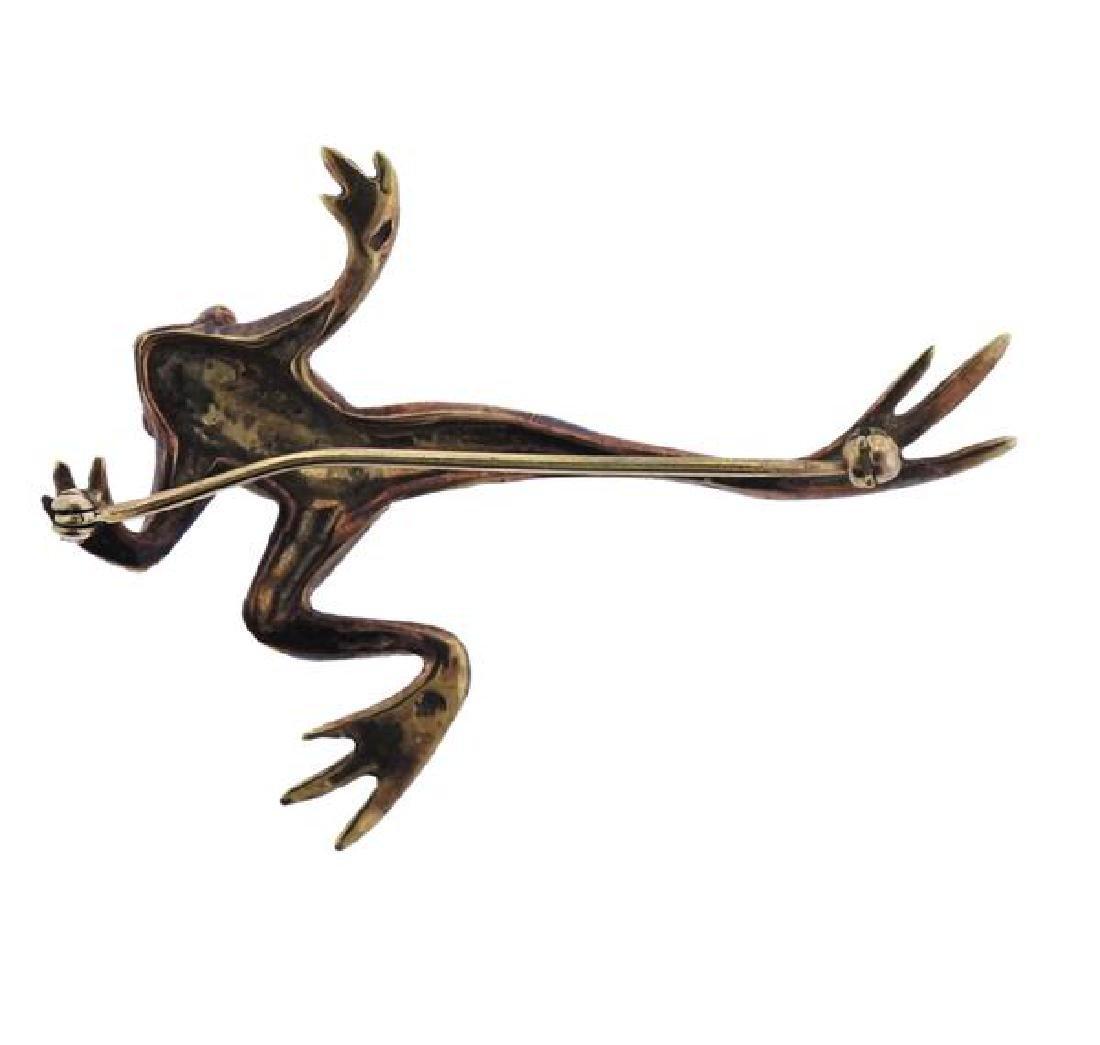 14k Gold Enamel Frog Pin Brooch - 3