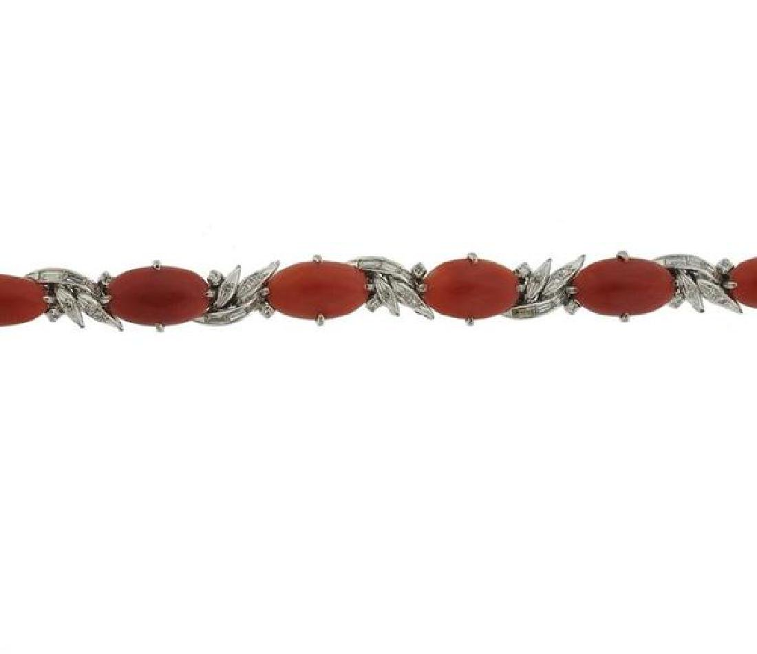 14K Gold Diamond Coral Bracelet - 3