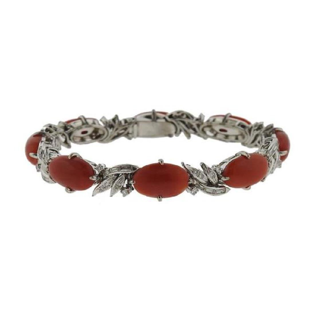14K Gold Diamond Coral Bracelet - 5