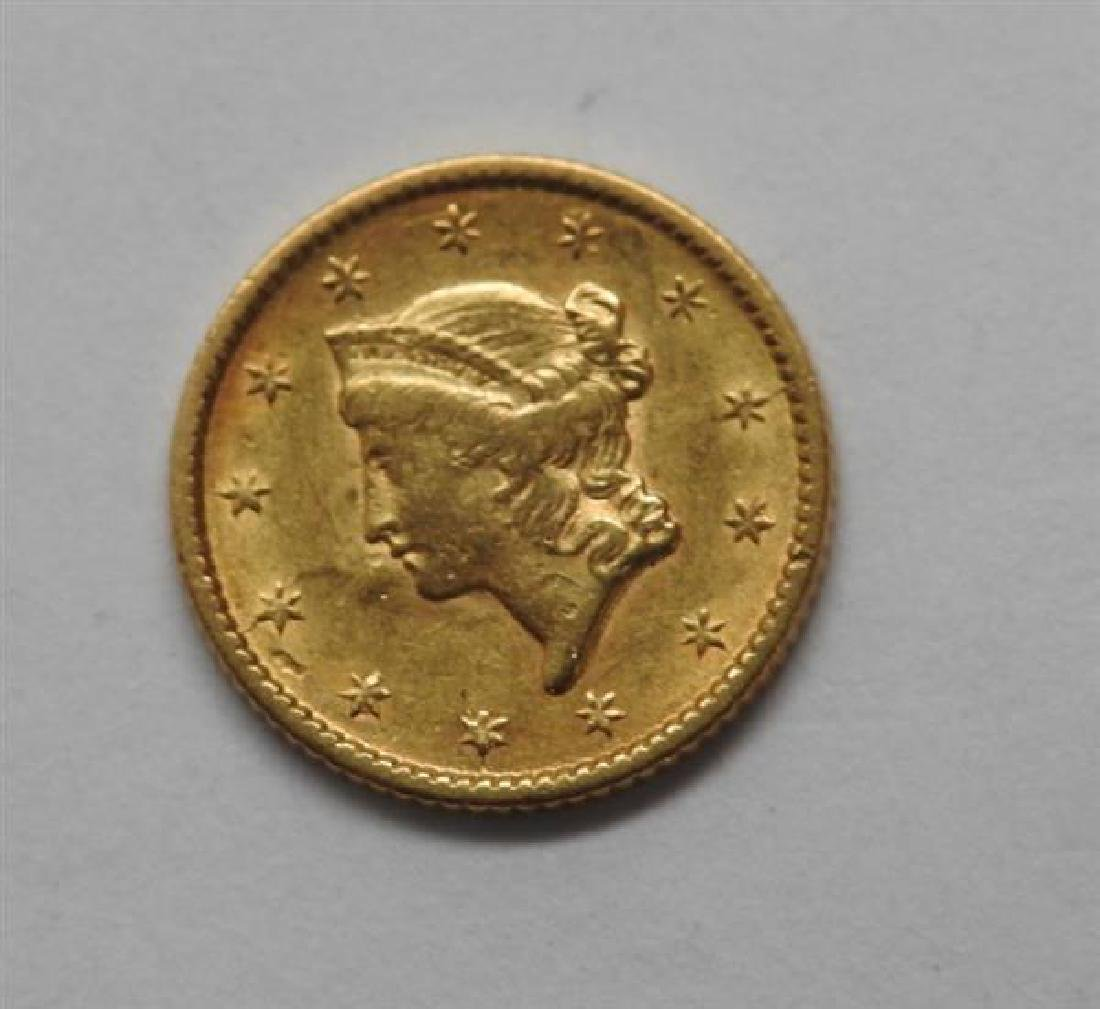 1853 Liberty Head 1 Dollar US Gold Coin