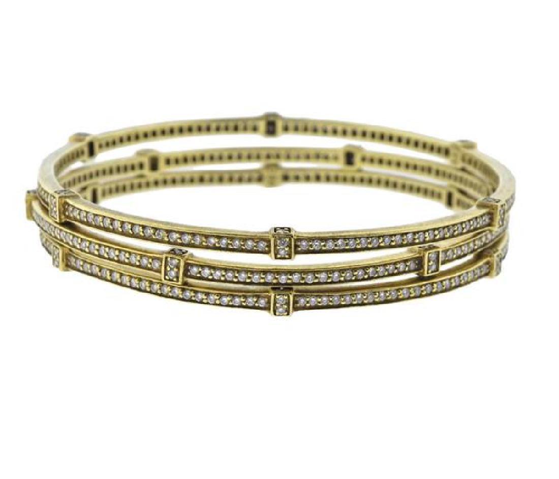 Judith Ripka 18K Gold Diamond Bangle Bracelet Set