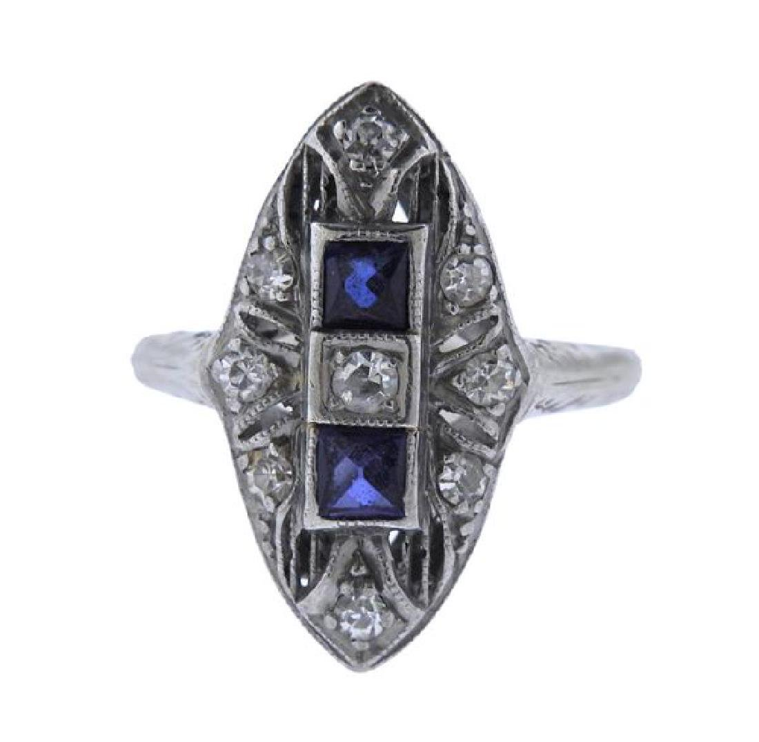 Art Deco Platinum 18K Gold Diamond Blue Stone Ring
