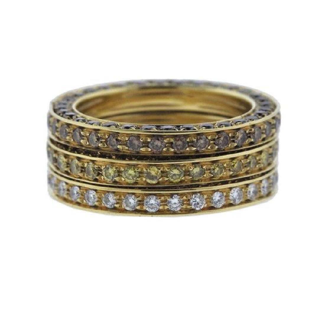 18k Gold Yellow White Brown Diamond Band Ring