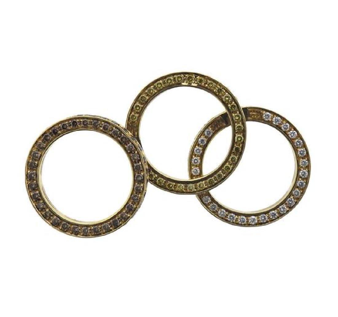 18k Gold Yellow White Brown Diamond Band Ring - 3