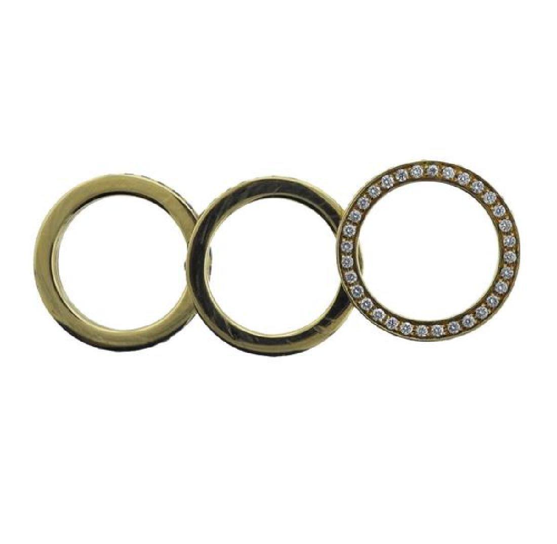 18k Gold Yellow White Brown Diamond Band Ring - 4