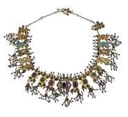 Indian 18K Gold Diamond Pearl Multi Stone Enamel