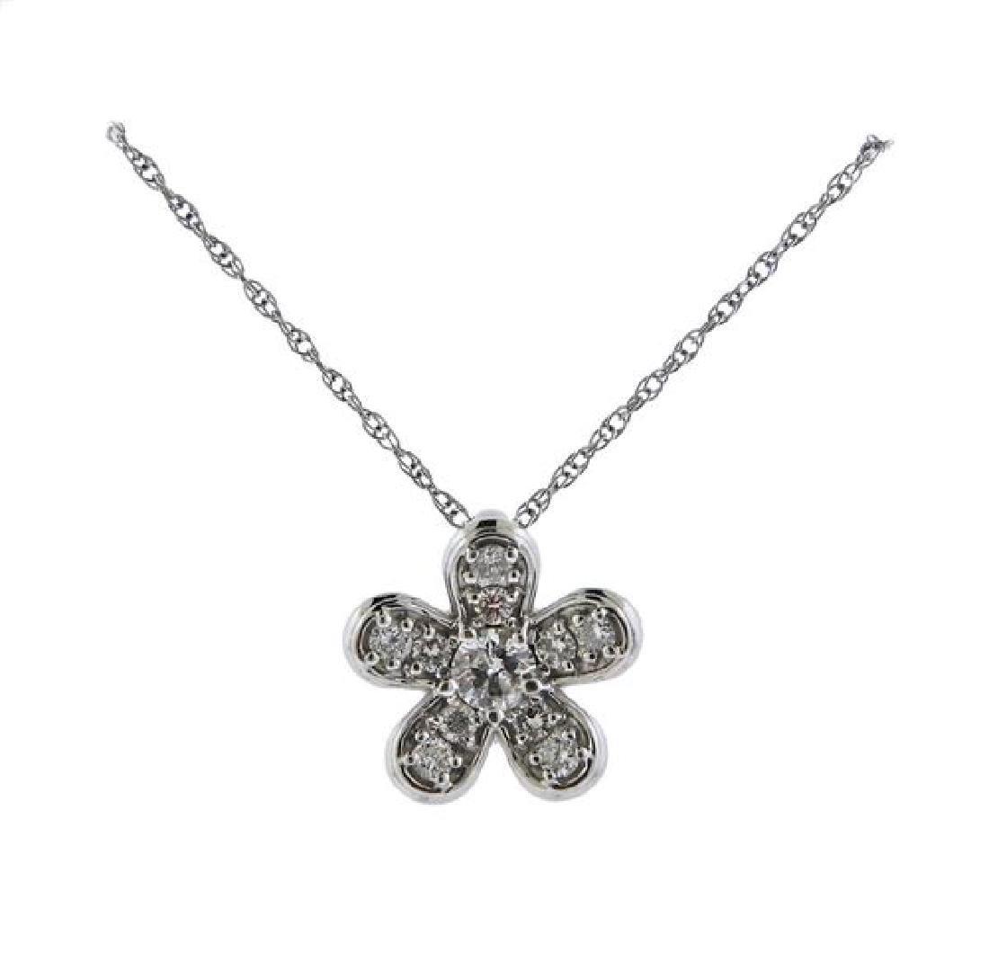 14K Gold Diamond Flower Pendant Necklace - 2