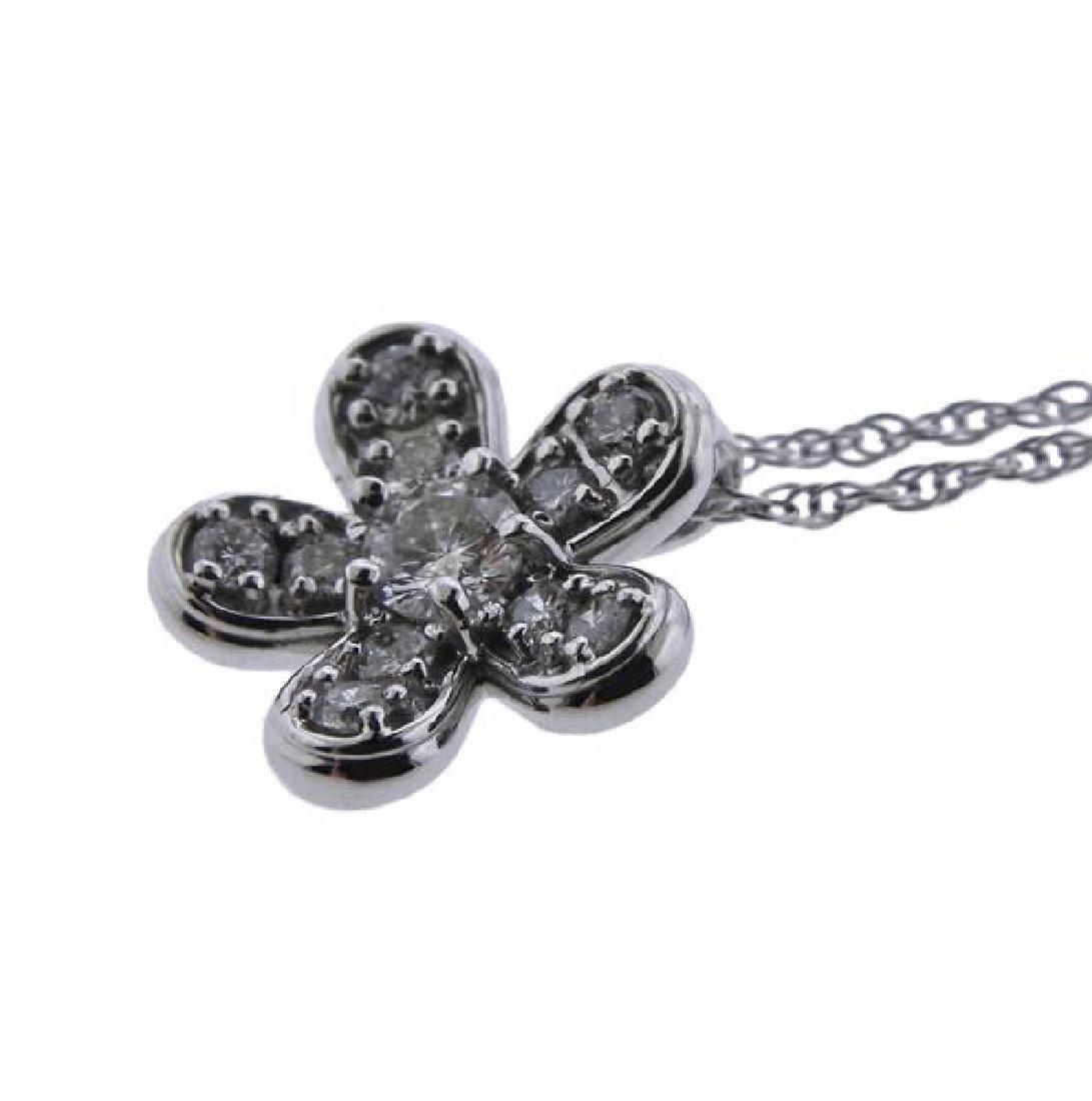 14K Gold Diamond Flower Pendant Necklace - 3