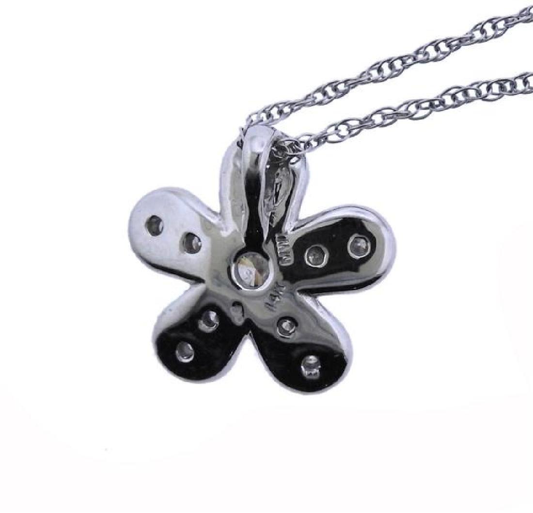 14K Gold Diamond Flower Pendant Necklace - 4