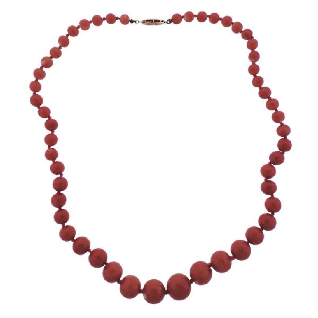 14K Gold Coral Bead Necklace