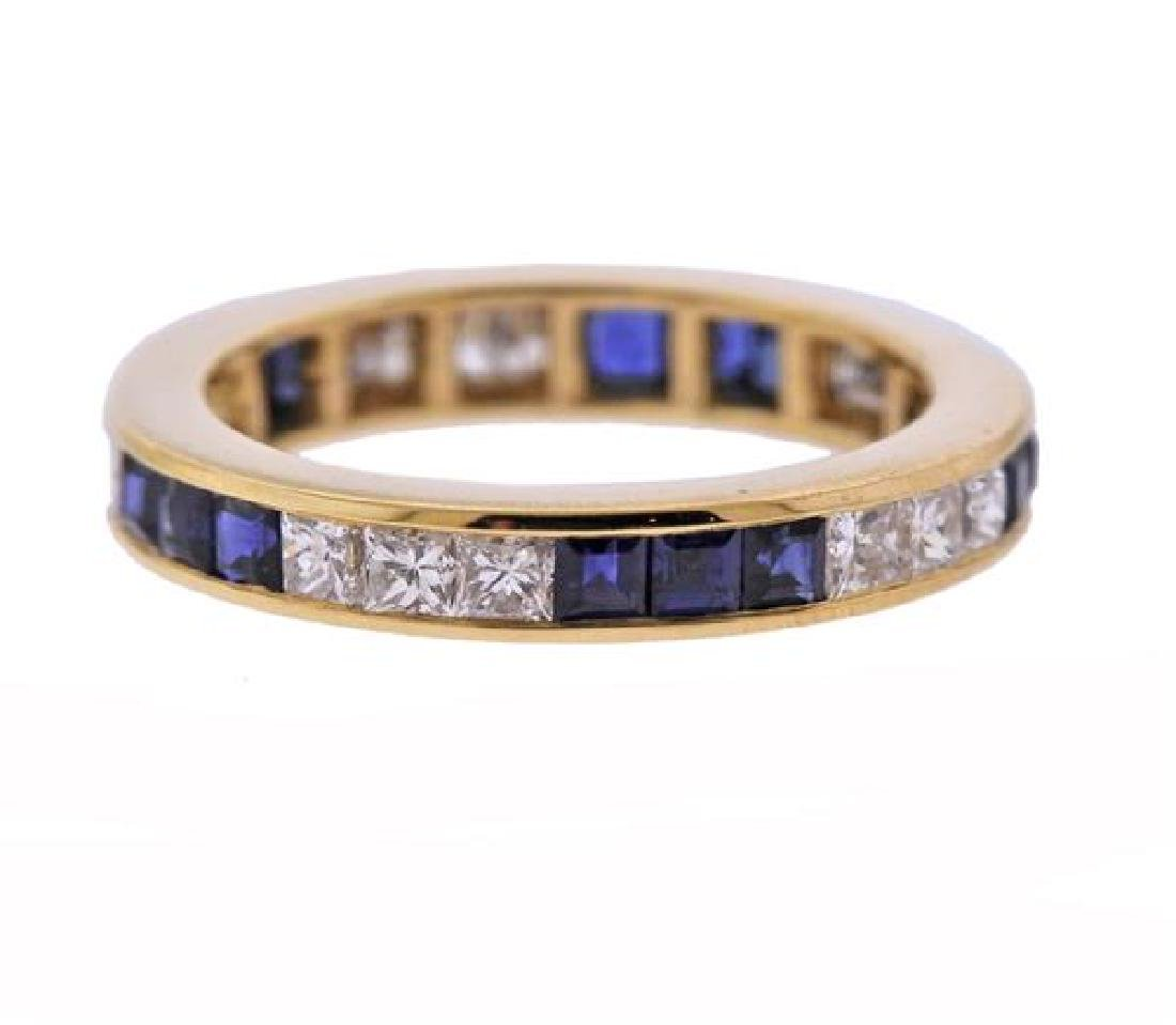 18K Gold Diamond Sapphire Eternity Band Ring
