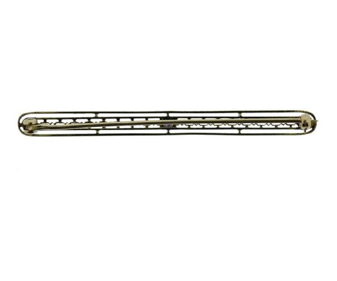 Antique 14K Gold Amethyst Bar Brooch Pin - 3