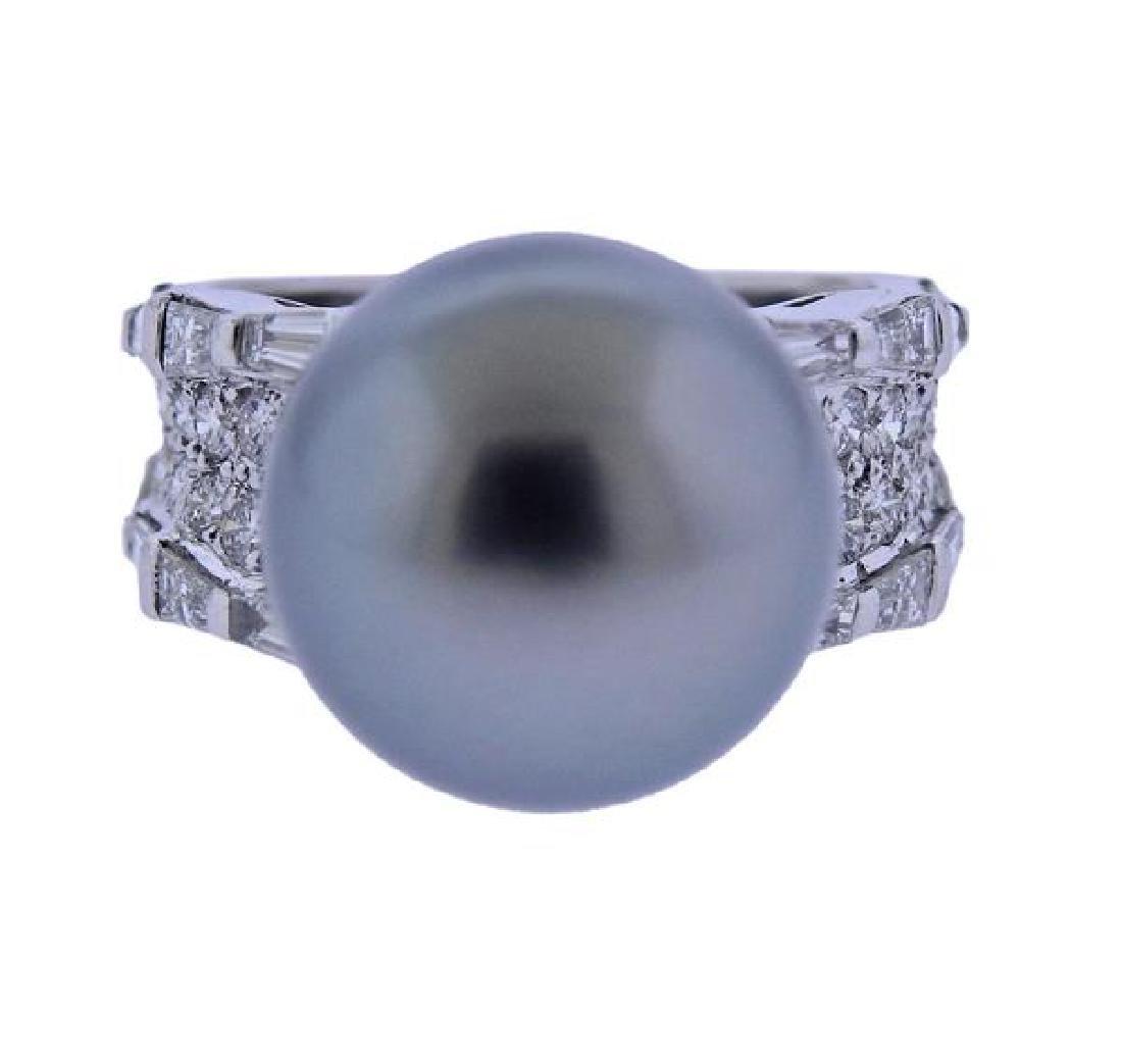 18K Gold Diamond 13.7mm Pearl Ring
