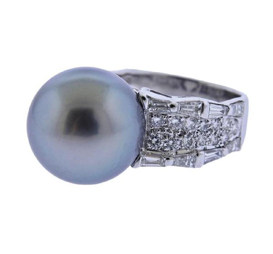18K Gold Diamond 13.7mm Pearl Ring - 2