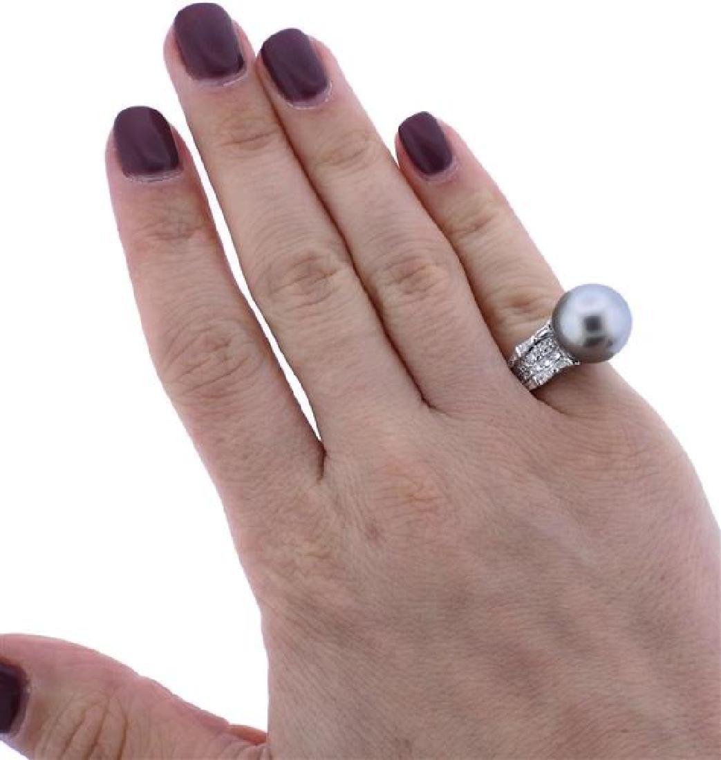 18K Gold Diamond 13.7mm Pearl Ring - 4