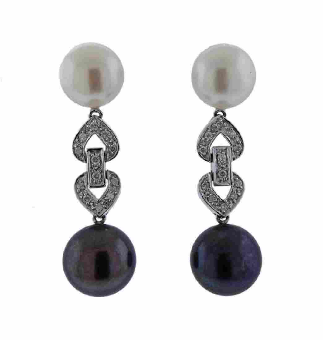14K Gold Diamond Pearl Drop Earrings