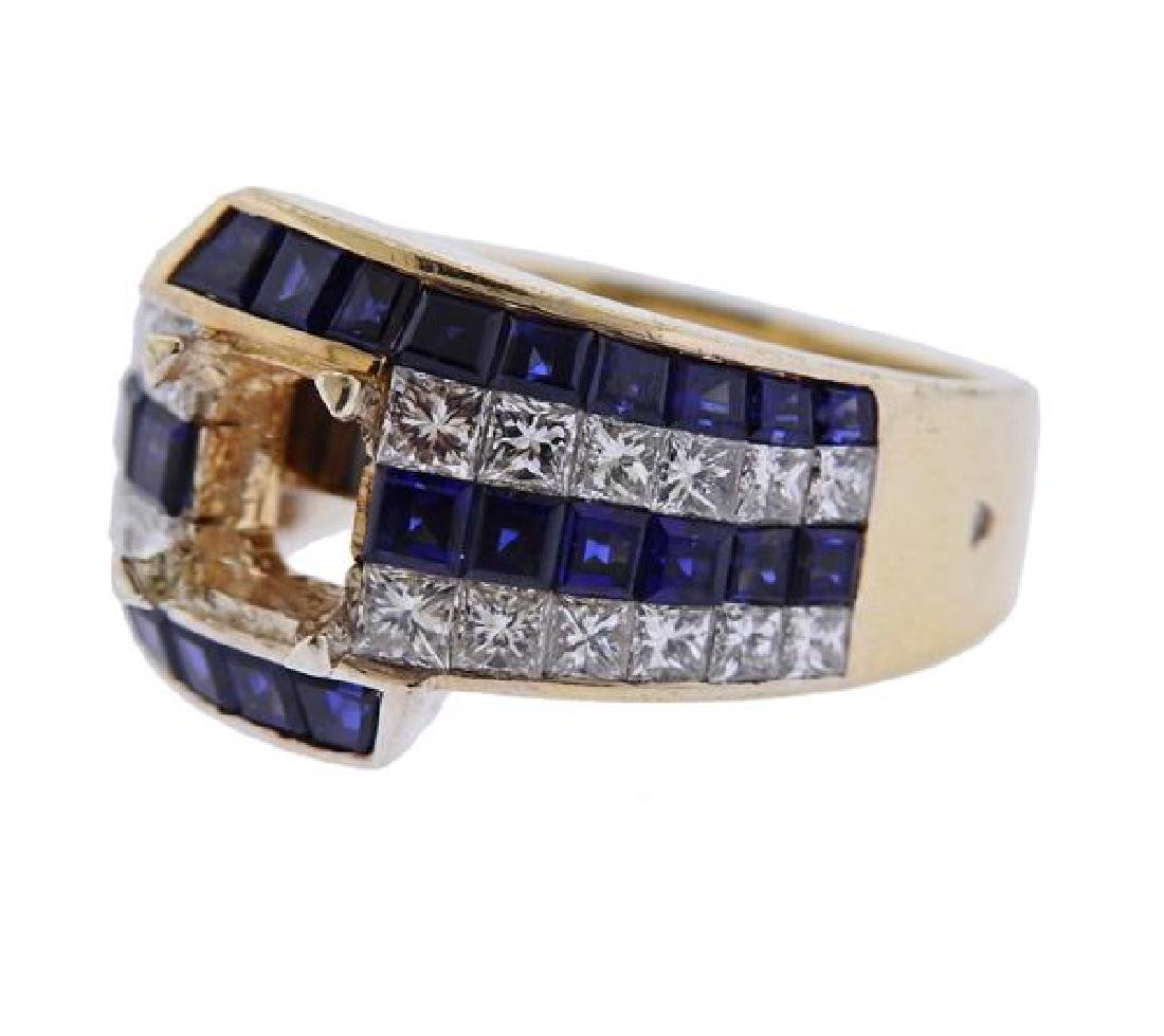18K Gold Diamond Blue Stone Ring Mounting - 2