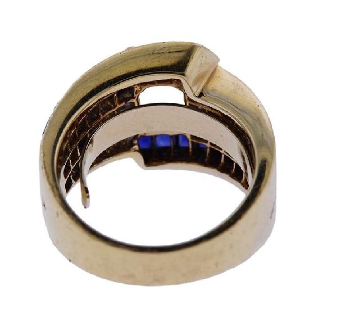 18K Gold Diamond Blue Stone Ring Mounting - 3