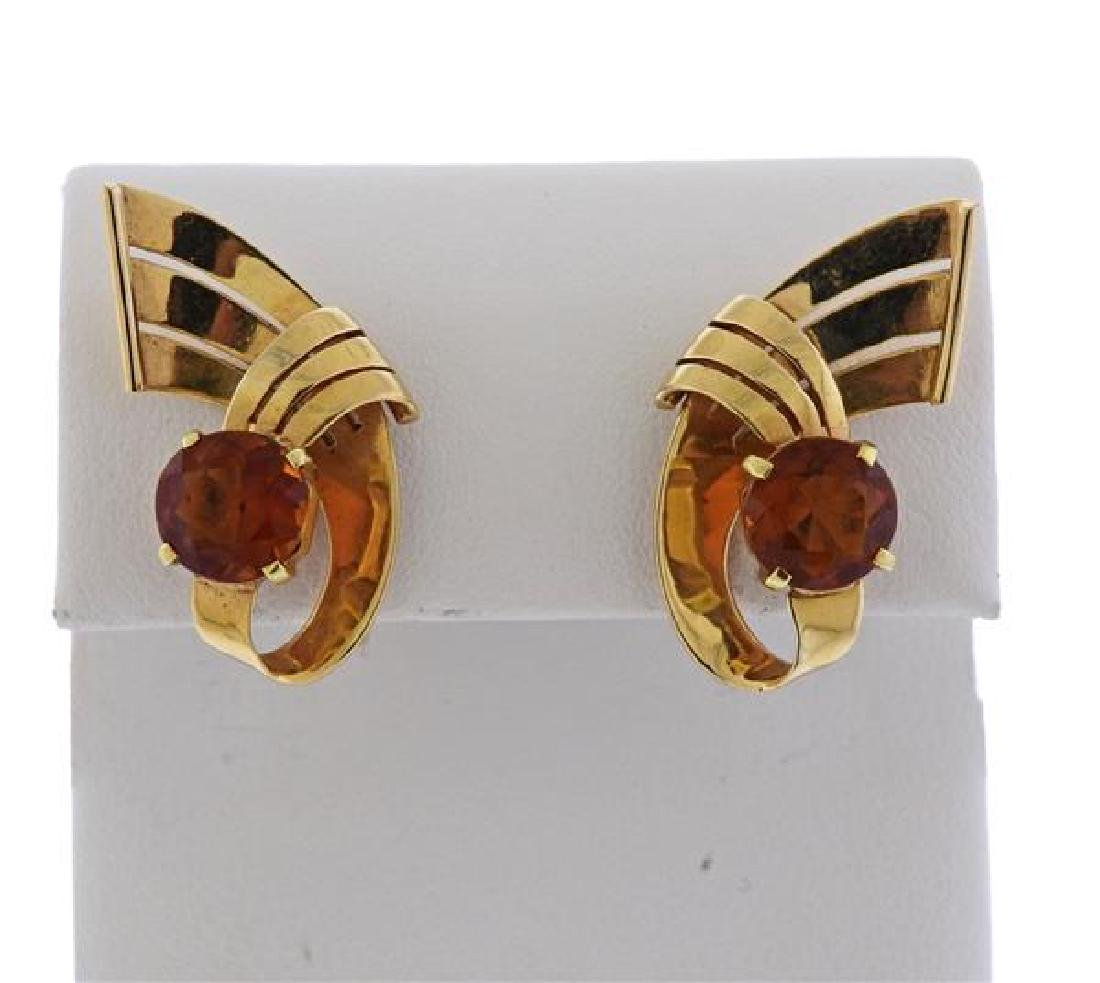 Retro 14K Gold Orange Stone Earrings