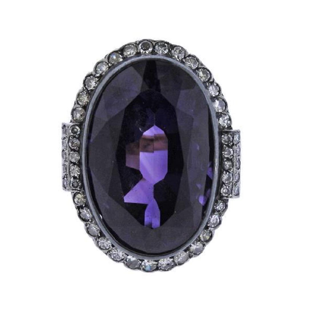 18K Gold Silver Diamond Purple Stone Cocktail Ring