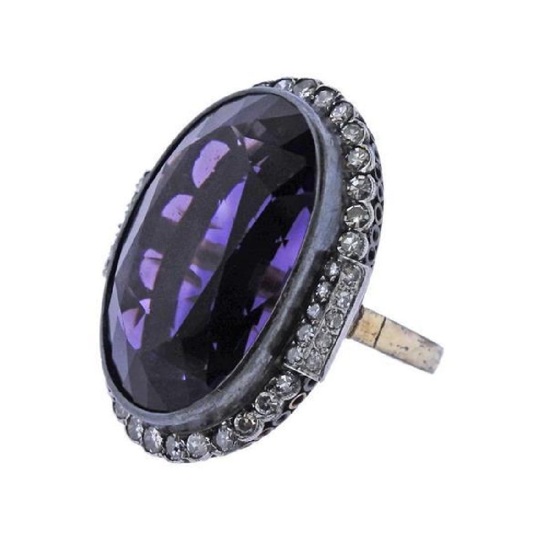 18K Gold Silver Diamond Purple Stone Cocktail Ring - 2