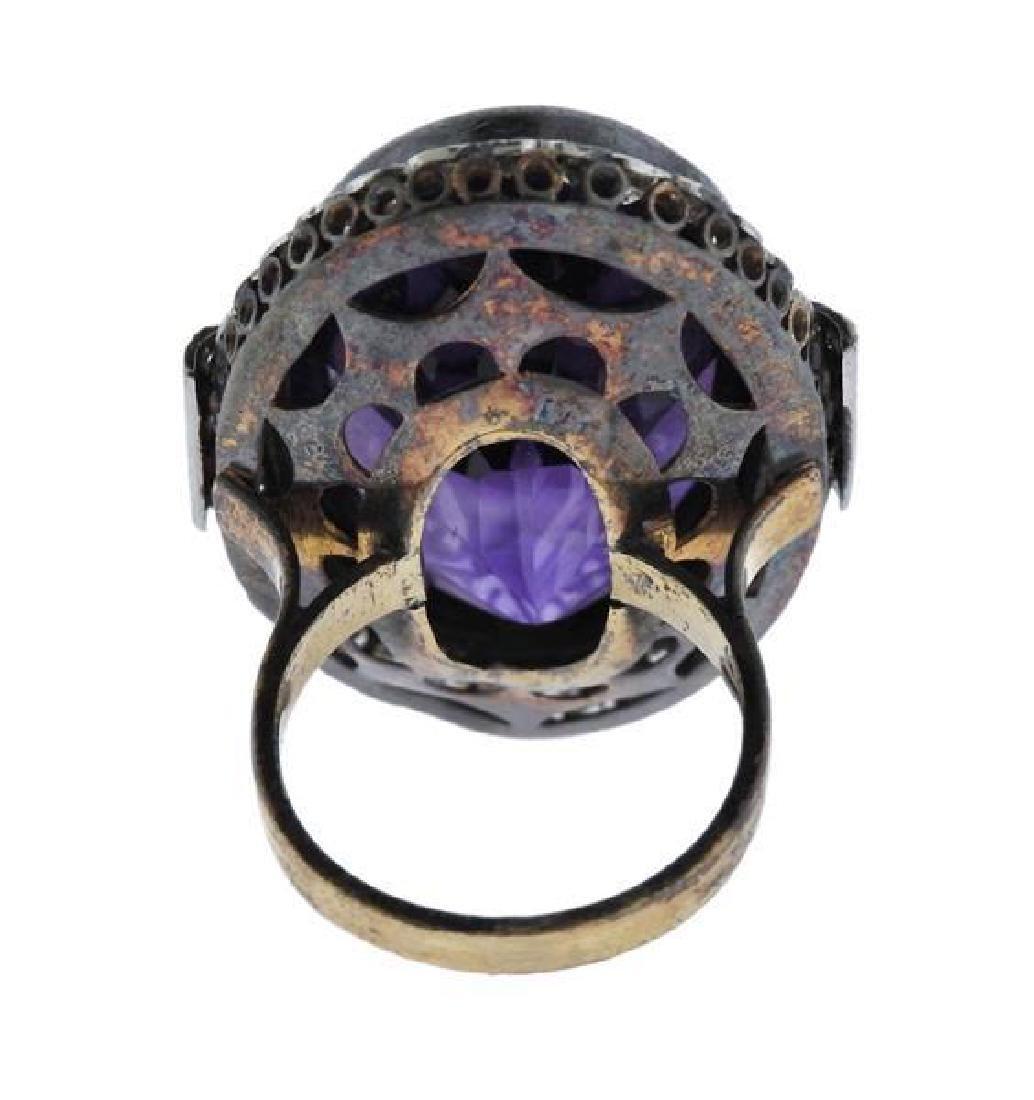 18K Gold Silver Diamond Purple Stone Cocktail Ring - 4