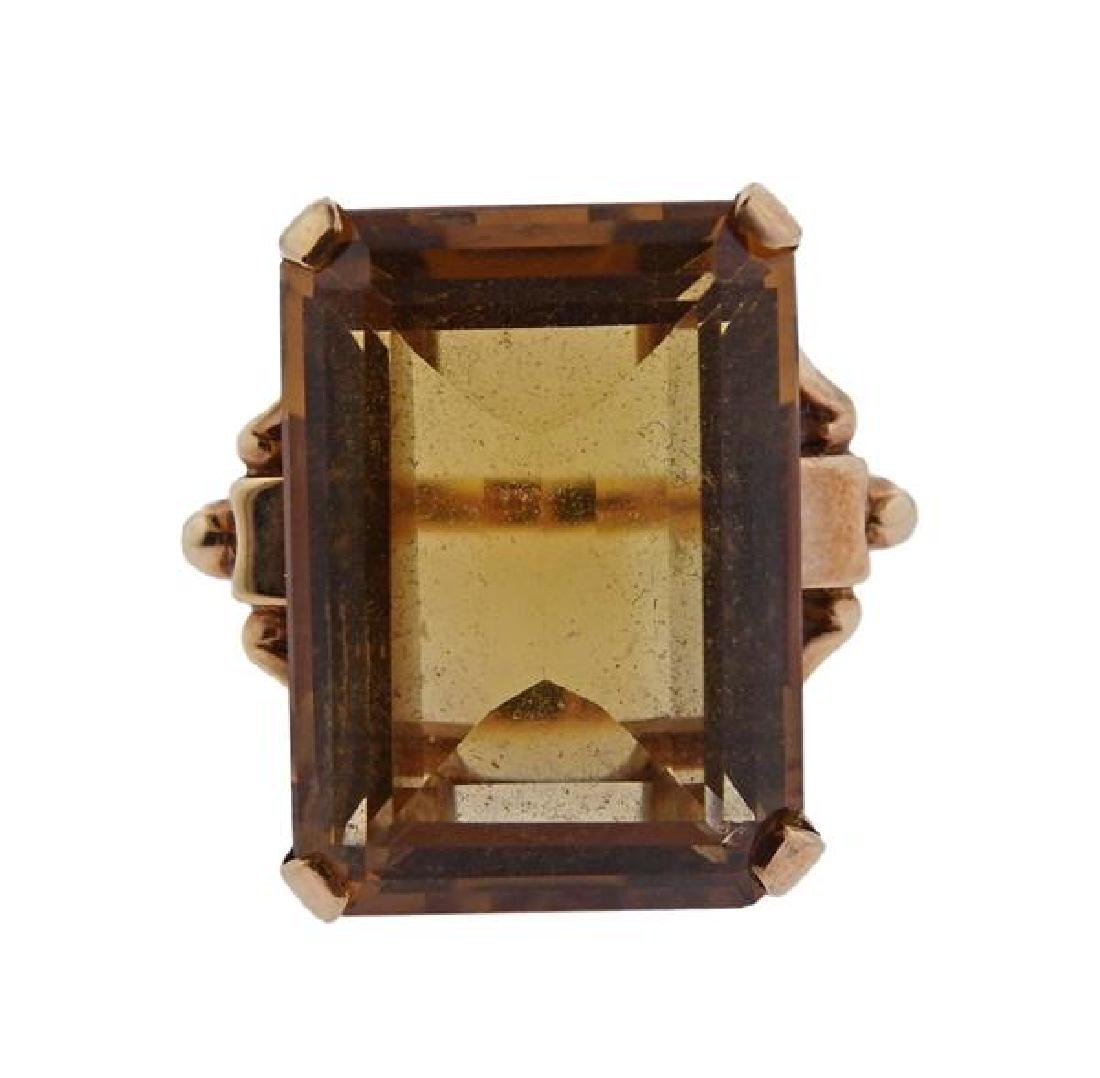 14K Gold Orange Stone Cocktail Ring