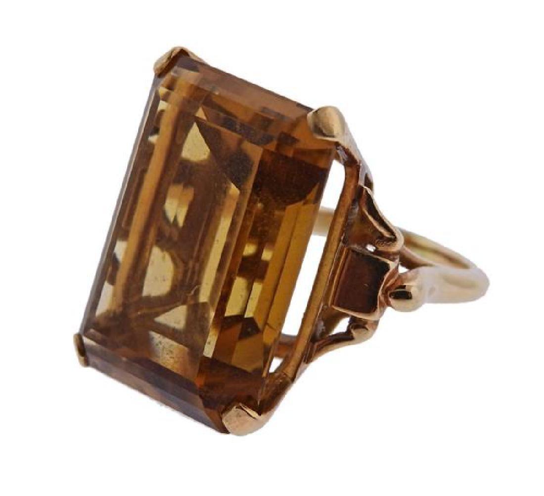 14K Gold Orange Stone Cocktail Ring - 2