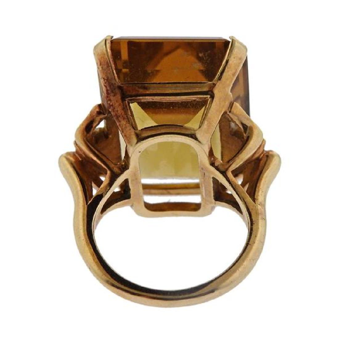 14K Gold Orange Stone Cocktail Ring - 3