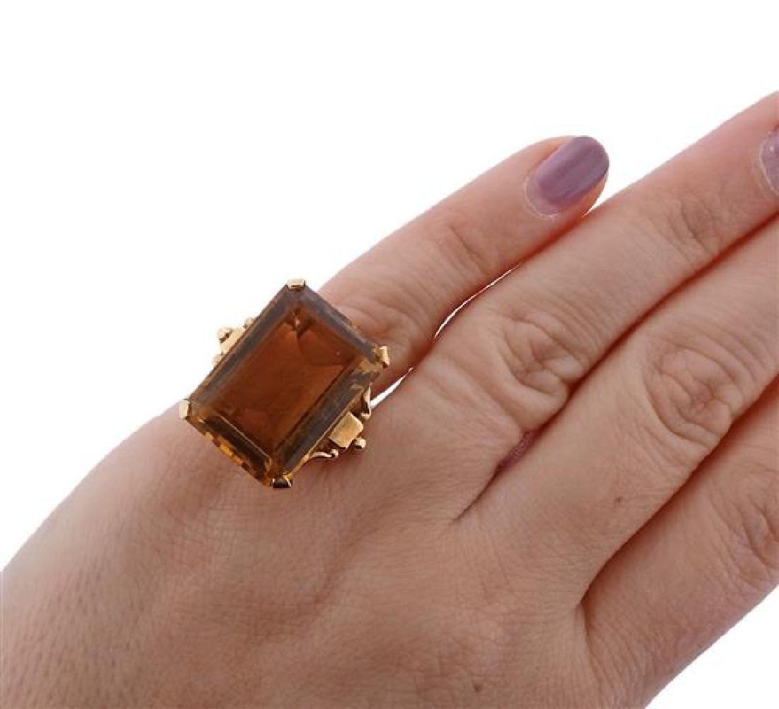 14K Gold Orange Stone Cocktail Ring - 4